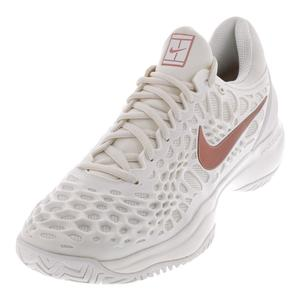 Women`s Zoom Cage 3 Clay Tennis Shoes Phantom and Metallic Rose Gold