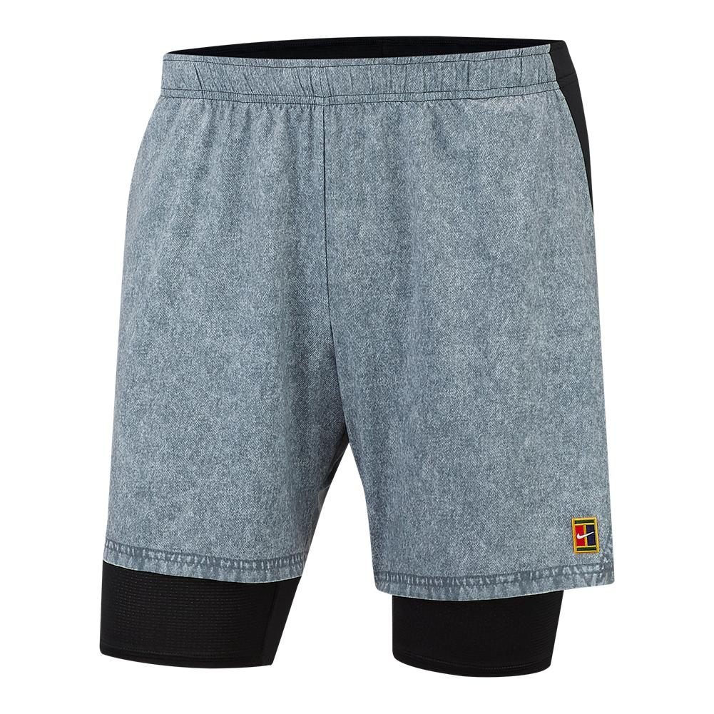 NIKE NIKE Men s Court Dry Flex Ace Pro Tennis Short Cool Grey And Black 50afda723103