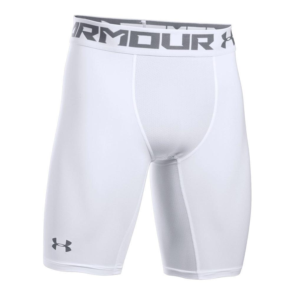 Under Armour Mens HeatGear 2.0 Compression Sports Shorts Pants White