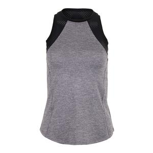 Women`s Helena Racerback Tennis Tank Frosted Heather and Black