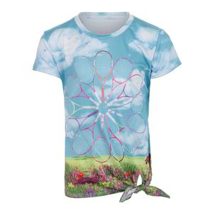 Girls` Tie Knot Tennis Tee Racket Garden