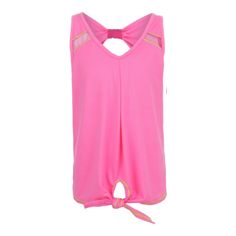 Girls ` Tie Knot Tennis Tank Pink