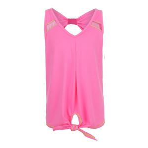 Girls` Tie Knot Tennis Tank Pink