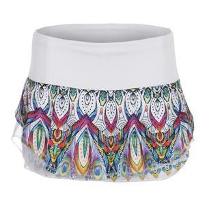 Women`s Velour Flip Tennis Skirt Illusion Print and White