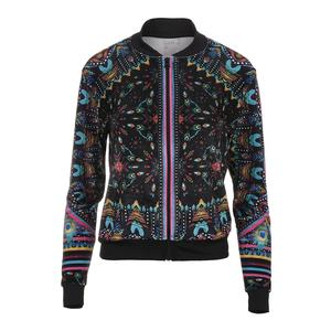 Women`s Velvet Bomber Tennis Jacket Majesty Print and Black