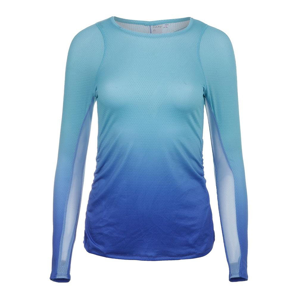 Lucky In Love Womens Ombre Long Sleeve Tennis Top Periwinkle Blue