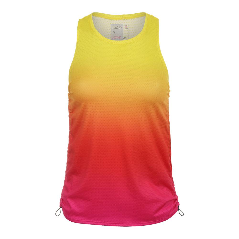 eadd99b2e4a Lucky In Love Women`s Ombre Cinch Tennis Tank Shocking Pink