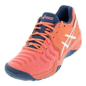 Juniors` Gel-Resolution 7 Tennis Shoes Papaya and White
