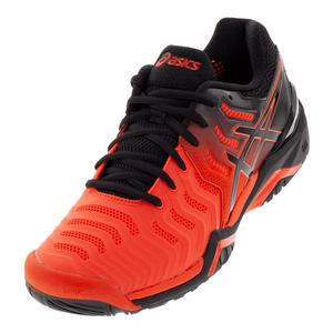 Men`s Gel-Resolution 7 Tennis Shoes Cherry Tomato and Black