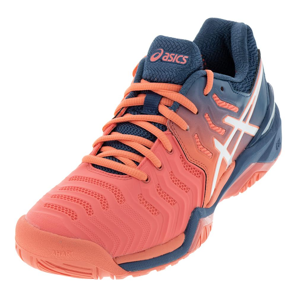 1cdbf795e225 Women s Gel- Resolution 7 Tennis Shoes Papaya And White