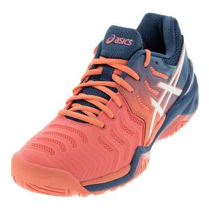 Women`s Gel-Resolution 7 Tennis Shoes Papaya and White