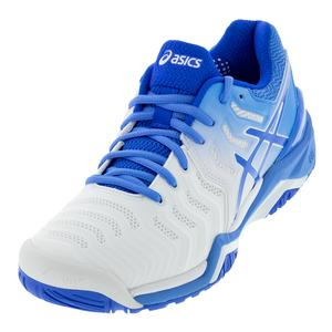 Women`s Gel-Resolution 7 Tennis Shoes White and Blue Coast