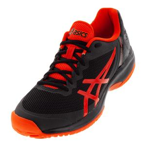 Men`s Gel-Court Speed Tennis Shoes Black and Cherry Tomato
