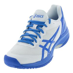 Women`s Gel-Court Speed Tennis Shoes White and Blue Coast