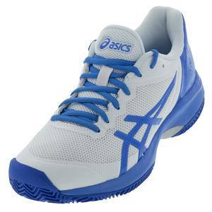 Women`s Gel-Court Speed Clay Tennis Shoes White and Coastal Blue
