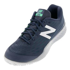 Men`s 896v2 D Width Tennis Shoes Vintage Indigo and Neon Emerald
