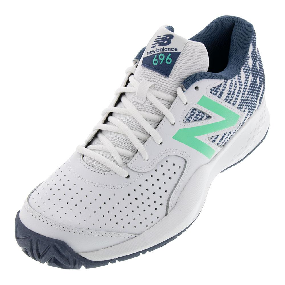 new style 5bf6a 1c400 Men s 696v3 D Width Tennis Shoes White And Emerald