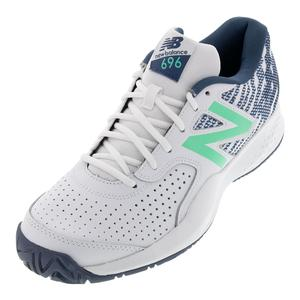 Men`s 696v3 D Width Tennis Shoes White and Emerald