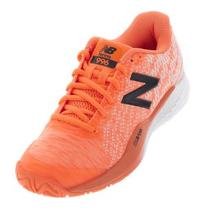 Women`s 996v3 B Width Tennis Shoes Light Mango and White