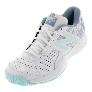 Women`s 696v3 B Width Tennis Shoes White and Light Reef