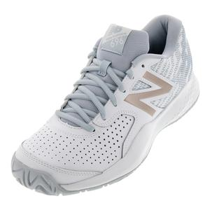 Women`s 696v3 B Width Tennis Shoes White and Rosegold