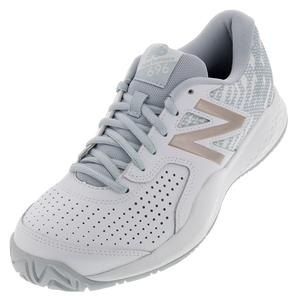 Women`s 696v3 D Width Tennis Shoes White and Rosegold