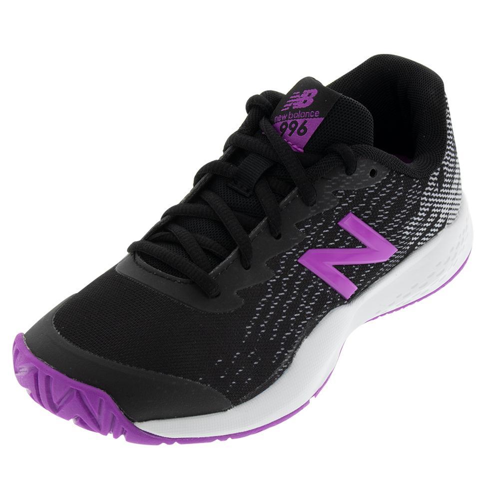 Juniors ` 996v3 Tennis Shoes Black And Voltage Violet