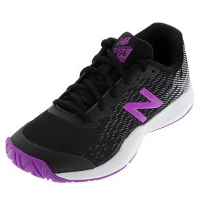 Juniors` 996v3 Tennis Shoes Black and Voltage Violet