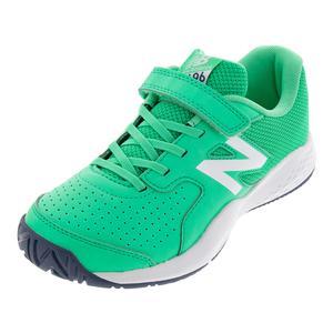 Juniors` 696v3 Tennis Shoes Neon Emerald and Vintage Indigo