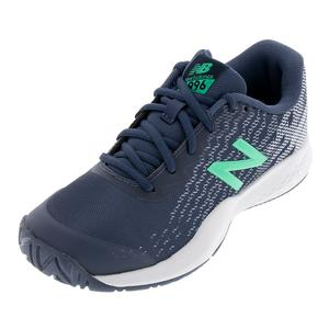 Juniors` 996v3 Tennis Shoes Vintige Indigo and Neon Emerald