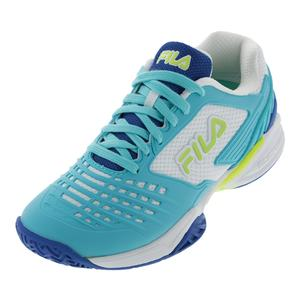 Women`s Axilus 2 Energized Tennis Shoes Electric Blue Lemonade, Fila Navy, White