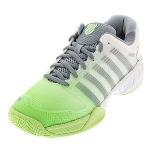 Women`s Hypercourt Express Tennis Shoes White and Paradise Green