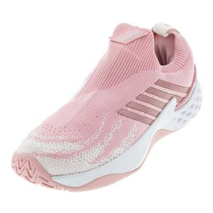 Women`s Aero Knit Tennis Shoes Coral Blush and White