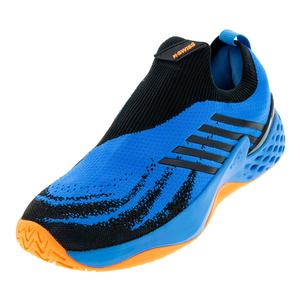 Men`s Aero Knit Tennis Shoes Brilliant Blue and Neon Orange