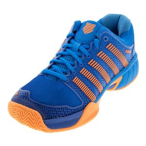 Juniors` Hypercourt Express Tennis Shoes Brilliant Blue and Neon Orange