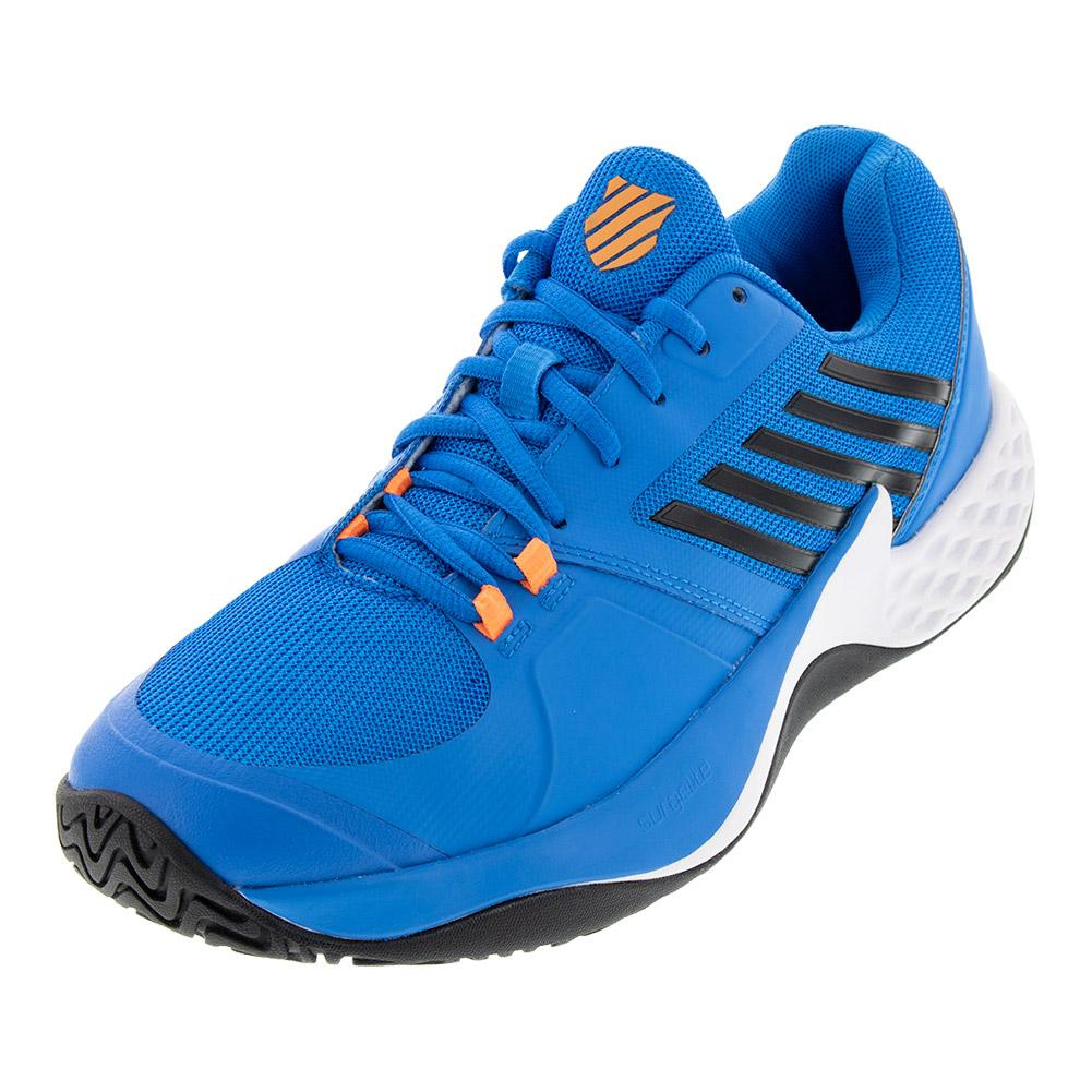 Men's Aero Court Tennis Shoes Brilliant Blue And Neon Orange