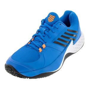 Men`s Aero Court Tennis Shoes Brilliant Blue and Neon Orange