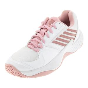 Women`s Aero Court Tennis Shoes White and Coral Blush