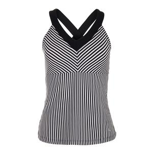 Women`s Stripe Halter Tennis Tank Black and White