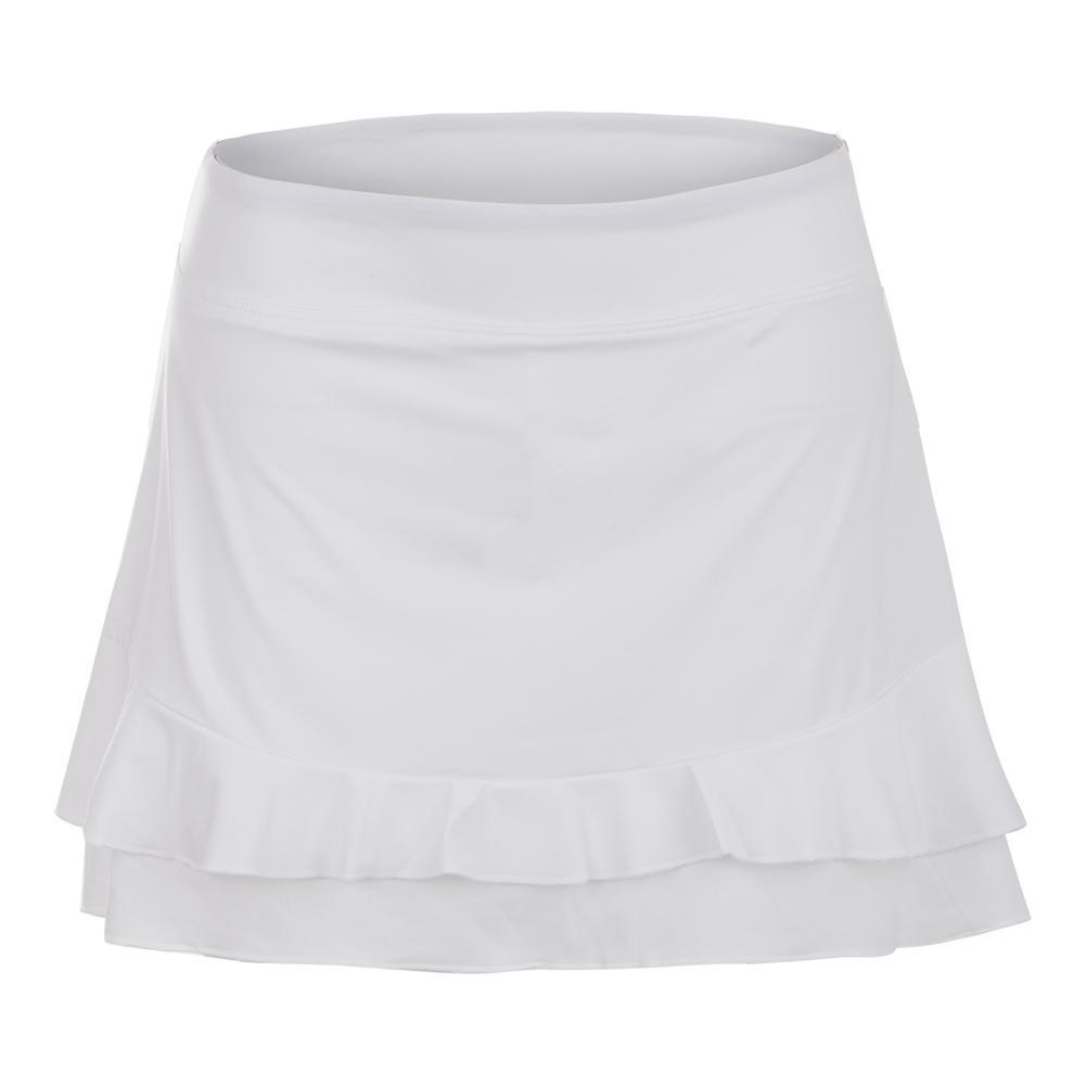 Women's Double Ruffle 13.5 Inch Tennis Skort White