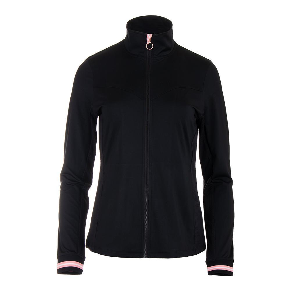 Women's Stripe Tennis Jacket Black