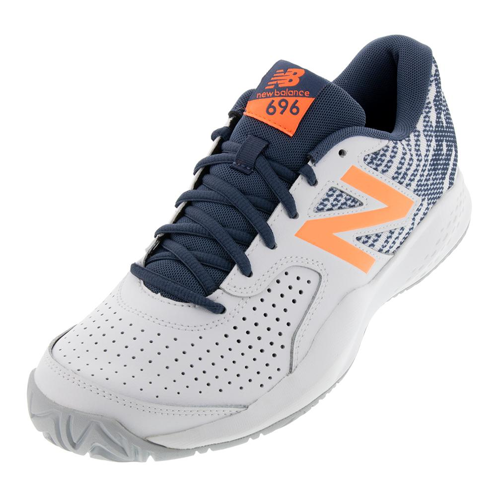 Men's 696v3 D Width Tennis Shoes White And Dark Mango