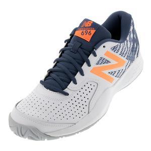 Men`s 696v3 D Width Tennis Shoes White and Dark Mango