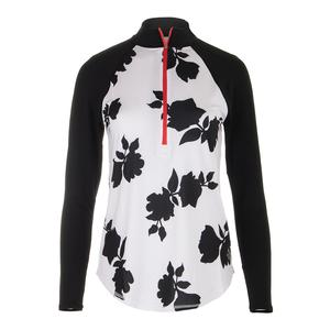 Women`s Long Sleeve Raglan Mock Tennis Top Floral Print
