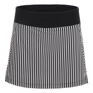 Women`s Stripe 13.5 Inch Tennis Skort Black and White