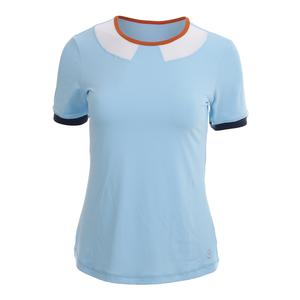 Women`s Short Sleeve Tennis Top Cloud Blue