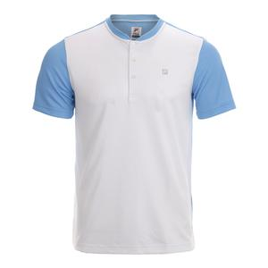 Men`s Set Point Tennis Henley White and Little Boy Blue