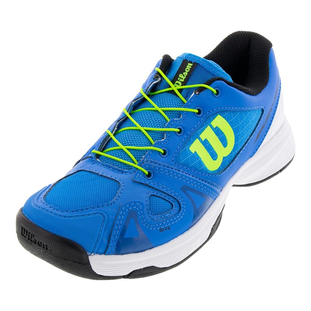 Juniors ` Rush Pro Quick Lace Tennis Shoes Brilliant Blue And White