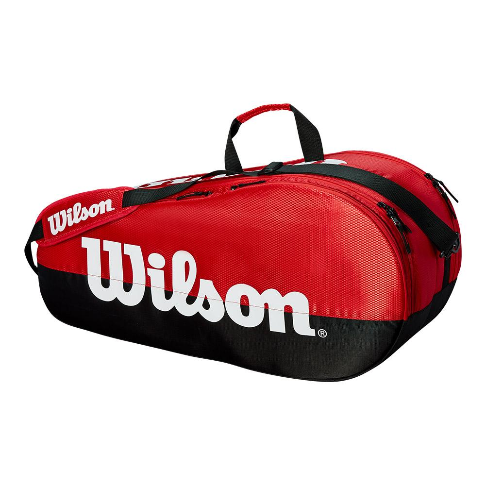 Team 2 Compartment Tennis Bag Black And Red