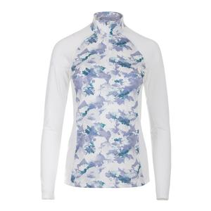 Women`s Lunar Quarter Zip Tennis Top White and Light Water Camo